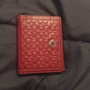 Red coach trifold wallet